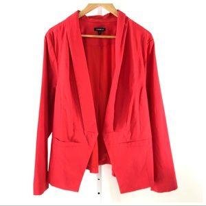 Torrid Coral Red Blazer Jacket Pockets Size 3